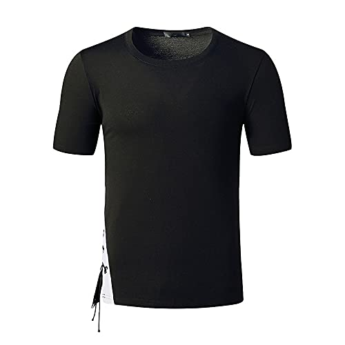 Shirt Hombre Verano Transpirable Básico Cuello Redondo Hombre Polo Slim Fit Tapeta con Botones Empalme Shirt Ocio Manga Corta Cordón Ligero Tendencia Empresarial Hombre T-Shirt H-Black2 L