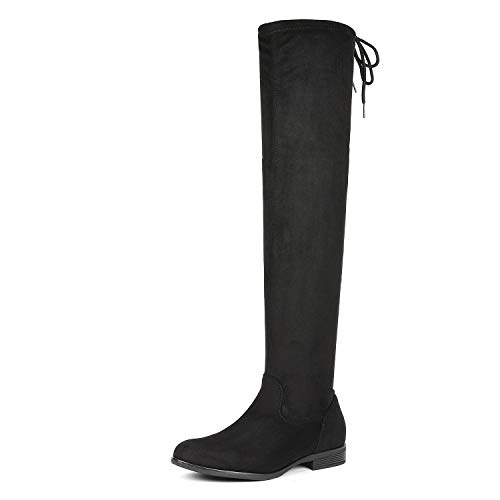 DREAM PAIRS Women's Overide Black Low Heel Thigh High Over The Knee Flat Boots Size 9.5 B(M) US