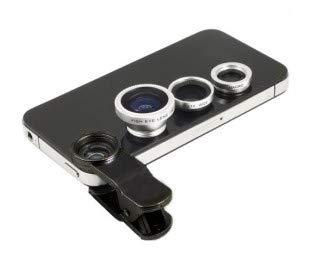 Kit de 3 lentes de smartphones con pinzas fisheye universal macro gran angular