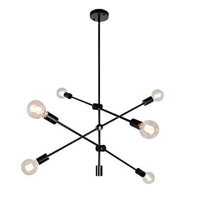 PUZHI HOME Sputnik Chandelier 6-Light Chandelier Contemporary Ceiling Light Fixture Industrial Vintage Pendant Lighting for Livingroom Dining Kitchen Island Bedroom Lighting-Black