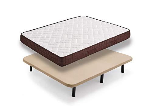 HOGAR24 ZR27- Colchón + Base tapizada con Patas, Medida 120x190 cm. Núcleo Alta Densidad Transpirable con Tejido 3D y Aloe Vera.
