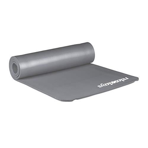 Relaxdays Unisex– Erwachsene Yogamatte, 1 cm dick, für Pilates, Fitness, gelenkschonend, mit Tragegurt, Gymnastikmatte 60 x 180 cm, grau, 1 Stück