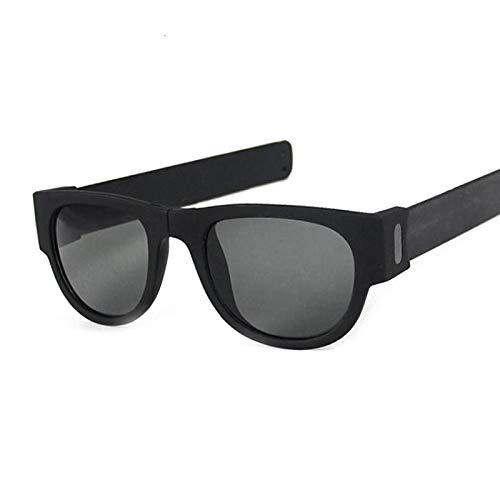 NJJX Gafas De Sol De Muñeca Plegables Para Mujer, Pulsera Con Bofetadas, Gafas De Sol, Pulsera Enrollada Para Hombre Y Mujer, Vintage, Cuadrado, Negro, Gris