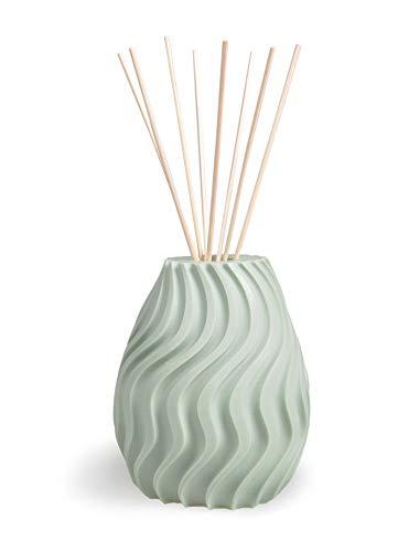 MANULENA Ambientador Mikado De Diseño Geométrico Wave. Aroma White Musk. Color Verde. Difusor De Varillas con Palitos De Rattan Natural. 100 ml