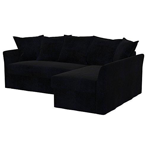 Soferia - Ikea HOLMSUND Fodera per Divano Letto angolare, Eco Leather Black
