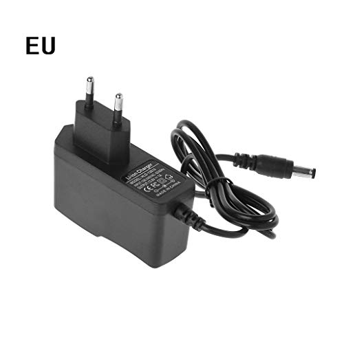JERKKY Caricabatterie EU Plug 12.6V 1A Lithium 18650 / Polymer Battery Pack Caricabatterie 100-240V 5.5MM x 2.1MM con Wire Lead DC