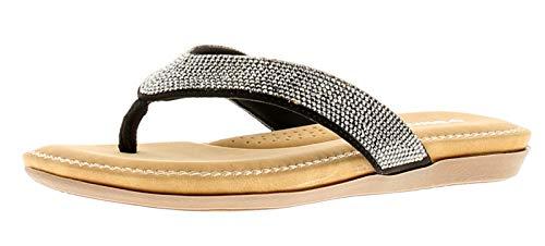 Dunlop Eryn Damen Flip Flops, Schwarz - Schwarz - Größe: 40 EU