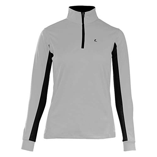 HORZE Trista Women's Horse Riding Equestrian Technical Cooling Sun Shirt with Long Sleeves - US 4 - Grey/Black
