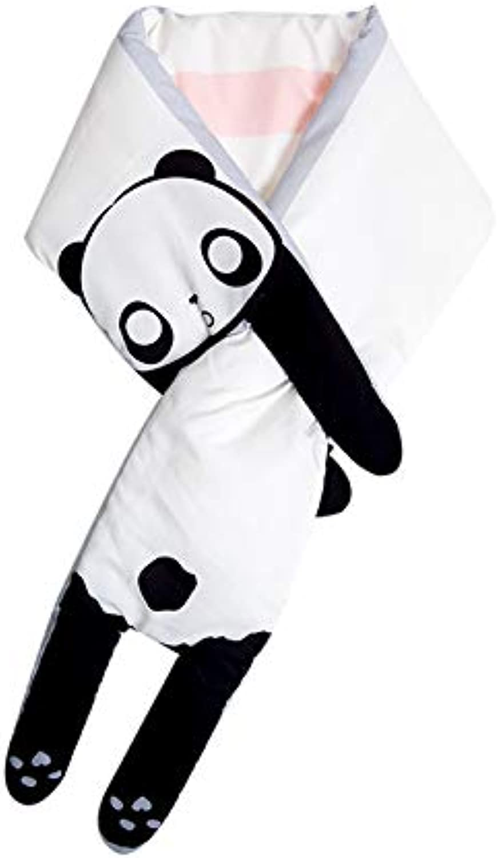 LLIND Home Autumn and Winter Female Cute Cartoon Fluffy Short Scarf Imitation Down Thickening Plus Velvet Warm Panda Collar