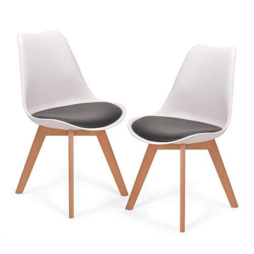 Mingone 2er Set Schwarz polsterstühle eßzimmer kein recycelter Kunststoff Stühle Massivholzbeine (Schwarz Weiß)