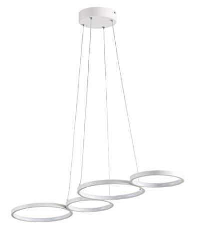 Wofi LED Pendelleuchte VIKA, 4-flammig, 31W, 2300 lm, Warmweiß, Dimmbar, Weiß