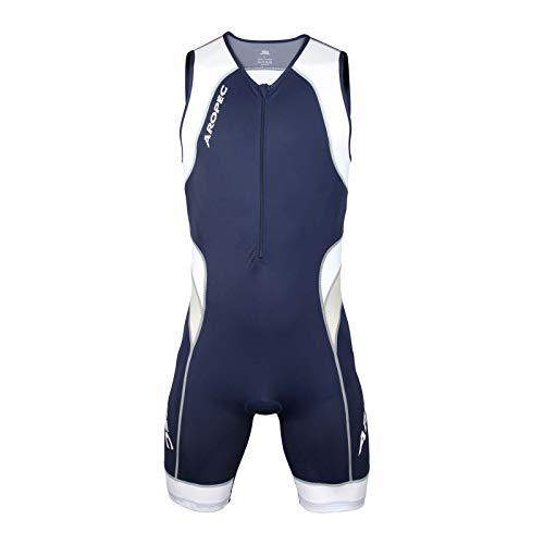 Aropec - Tuta da Triathlon Lion, da Uomo, in Lycra, 1 Pezzo, Protezione UV 50, S, Navy/Bianco