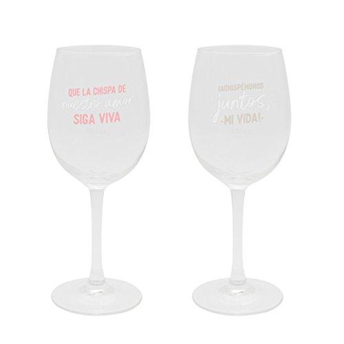 Mr Wonderful Woa08920Es Set De 2 Copas De Vino Para Brindar (Y Lo Que Surja), Multicolor
