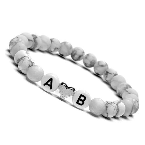 Partnerarmband, Armband mit Buchstaben Personalisiert, Personalisierbare Perlen Armbänder für Pärchen, Howlith Perlenarmband I Paar Arrmband mit Wunschgravur | Freundschaftsarmband |- Weiß