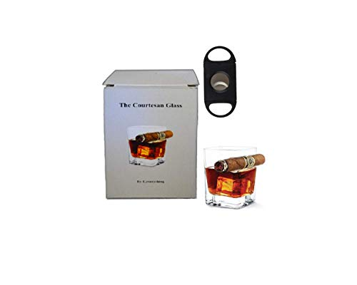 DOUBLE OLD FASHIONED COCKTAIL ROCK GLASS WITH INTEGRATED CIGAR HOLDER WITH CIGAR CUTTER FOR WHISKEY OR BOURBON