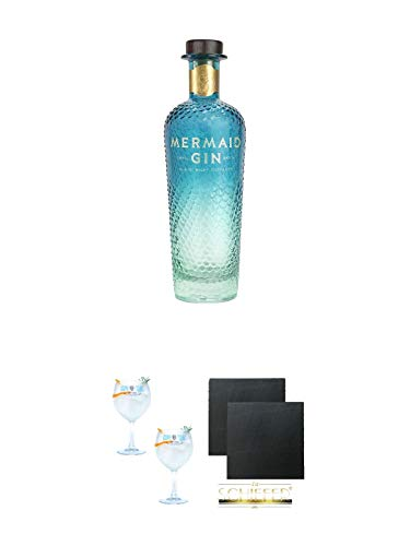 Mermaid Gin Isle of Wright 0,7 Liter + Gin Sul Copo Ballon Glas 2 Stück + Schiefer Glasuntersetzer eckig ca. 9,5 cm Ø 2 Stück