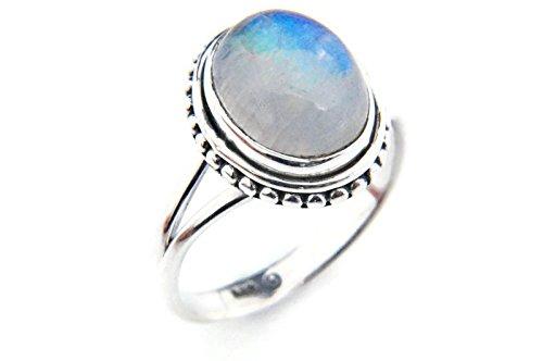 Ring Silber 925 Sterlingsilber Regenbogen Mondstein weiß Stein (Nr: MRI 76), Ringgröße:48 mm/Ø 15.3mm