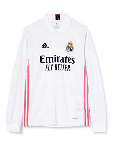Adidas Real Madrid Temporada 2020/21 Camiseta Manga Larga Primera Equipación Oficial, Unisex, Blanco, M