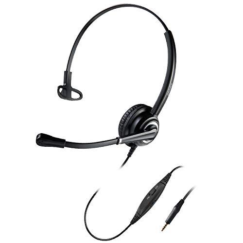 Handy-Headset mit Geräuschunterdrückungs-Mikrofon für Smartphones Apple iPhone Samsung HD Audio Sound mit verstellbarem Kopfbügel für Musik und Anrufe, 3,5 mm Stecker Schwarzes Einzelohr.