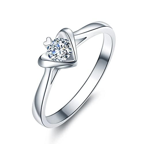 Aeici Alianzas Matrimonio 0.2ct Redonda Diamante, Anillo Oro blanco 18k para Mujeres, Tamaño 28