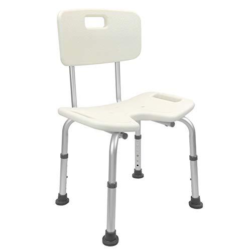 PrimeMatik douchestoel, antislip, in hoogte verstelbaar, voor oudere personen met gat (KD09), wit, eenheidsmaat