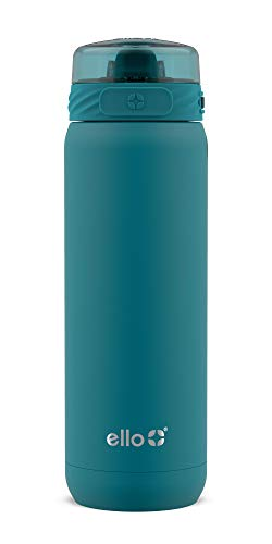 Ello Cooper Vacuum Insulated Stainless Steel Water Bottle with Anti-Microbial Silicone Straw, 22 oz, Antigua