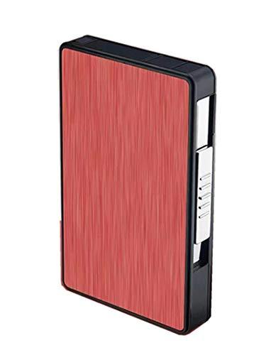 Pitillera con USB Lighter, Pitillera de aluminio, 2 en 1 electrónica, recargable, resistente al viento, sin llama, para 16 cigarrillos finos de 100 mm