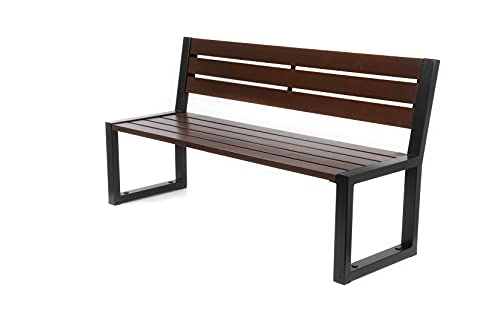 Parkbank Gartenbank Stahl Massiv Holz Palisander Gestell Gartenmöbel Modern Sitzbank (02004)