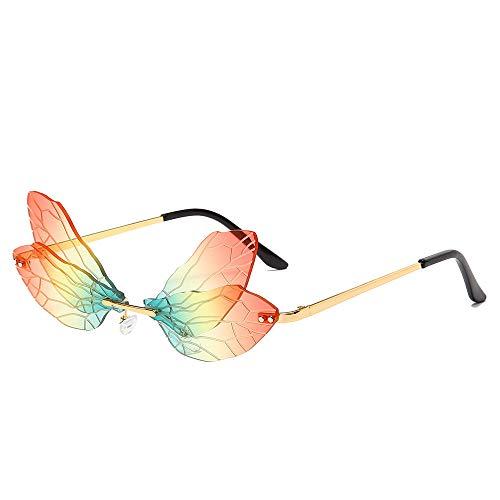 Gafas de sol de moda sin montura diseño de las mujeres vintage de metal mariposa gafas de sol gafas de lujo gafas de sombra gafas Oculos