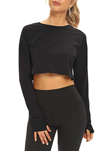 Mippo Long Sleeve Crop Top Workout Shirts Cropped Sweatshirts Long Sleeve Activewear Tops Athletic...