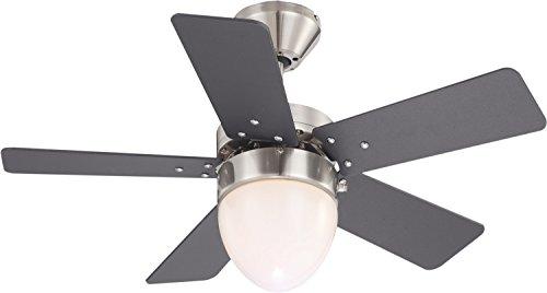 Deckenventilator mit Beleuchtung Leise Zugschalter Deckenleuchte mit Ventilator (3 Stufen, Deckenlampe, 76 cm, Rechts Links Lauf, Weiß Graphit)