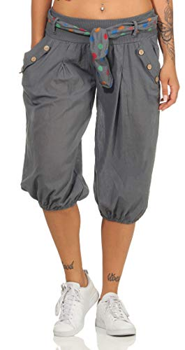 Malito Damen Pumphose in Unifarben   lässige Kurze Hose   Bermuda für den Strand   Haremshose - Pants 3416 (dunkelgrau)
