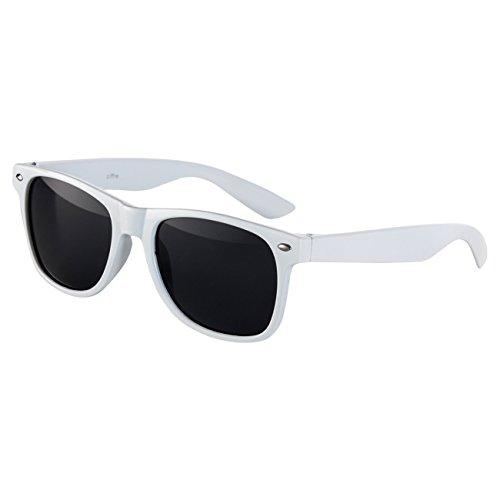 Ciffre Sonnenbrille Nerdbrille Nerd Retro Look Brille Pilotenbrille Vintage Look - ca. 80 verschiedene Modelle Weiß Classic