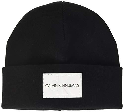 Calvin Klein Ckj Monogram Beanie Gorro Estilo Pescador, Negro (Black Bds), Talla Única (Talla del Fabricante: OS) para Hombre