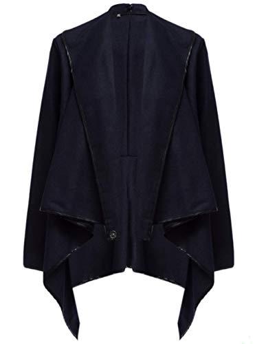 BININBOX® 2 Farben Damen Mantel kurzer Wollmantel Trenchcoat Stehkragen Asymmetrisch Übergangsjacke (Deusche Gr.M/Hersteller Gr.XL, Dunkelblau)
