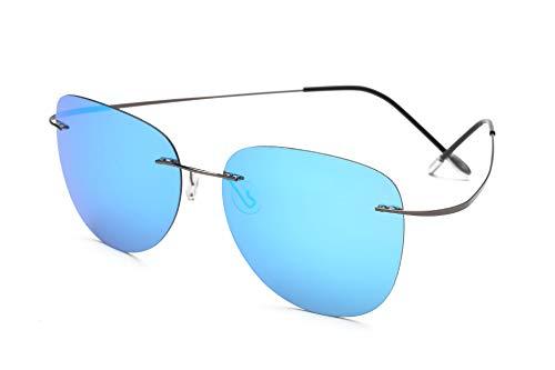 TL-Sunglasses 100% di Titanio Silhouette Occhiali da Sole Super Leggero Uomini Senza Montatura di Occhiali da Sole Polaroid Occhiali Polarizzati,Titanio ZP2117 C5