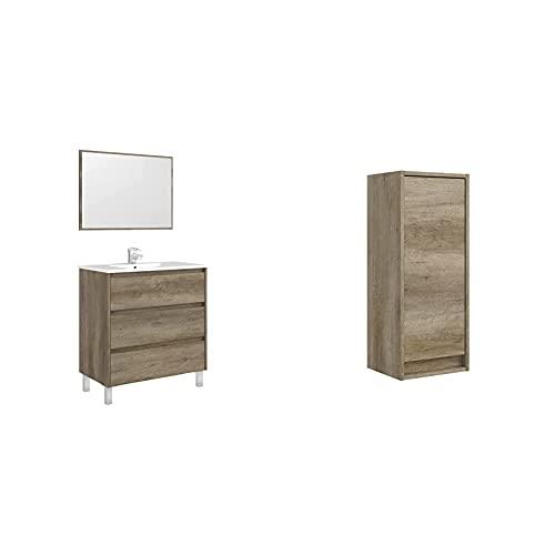 Arkitmobel Mueble De Baño con 3 Cajones Y Espejo, Modulo Lavabo, Modelo Dakota + Columna De Baño Suspendido 1 Puerta, Mueble Lavabo, Modelo Dakota