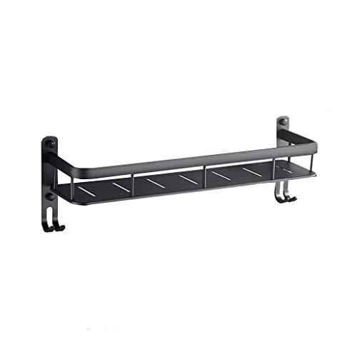 Zwarte douchemand - wandplank ruimte aluminium Single Layer Long Belt Haken Bad Kleerhanger Free Punch 42cm