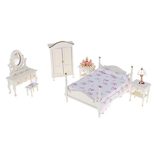 Toygogo 1:12 Muñecas de Muebles 6 Piezas por Juego, Incluyendo 1 Cama Doble, 1 Taburete, 1 Cómoda, 1 Armario; 2 Mesitas de Noche