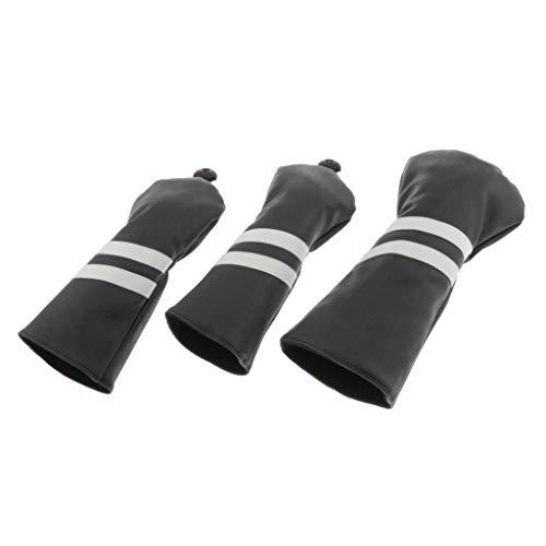 #N/A Golf Schlägerkopfhüllen Golf Headcovers Set Driverkopfhüllen Holzkopfhüllen Golfschlägerhaube fit für 460 CCM Holz Driver - Schwarz
