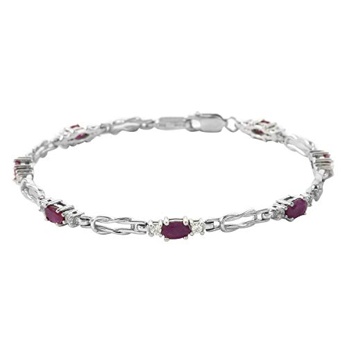 925 Sterling Silver Platinum Plated Oval Ruby White Zircon Bracelet Jewelry for Women Size 7.25' Ct 2.5 Mothers Day Gifts