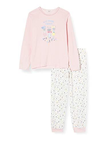 ESPRIT Mädchen Bekka Mg Pj.Yd.Pp.Ls_Ll Zweiteiliger Schlafanzug, Weiß (Off White 110), 116 (Herstellergröße: 116/122)