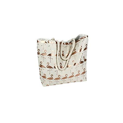 Bavaria Home Style Collection Große Strandtasche - Einkaustasche - Shopper Tasche - Umhängetasche - Bag - Motiv Flamingo Creme Beige Gold