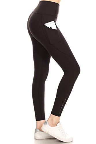 Leggings Depot YL8N-BLACK-L Reflective Side Pocket Yoga Black, Large