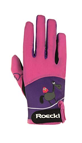 Roeckl Sports Junior Handschuh -Kansas- Kinder Reithandschuh mit Lernhilfe pink, 6