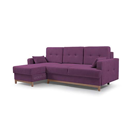 MOEBLO Ecksofa mit Schlaffunktion Eckcouch mit 2 X Bettkasten Sofa Couch L-Form Polsterecke Sophie (Violett, Ecksofa Links)
