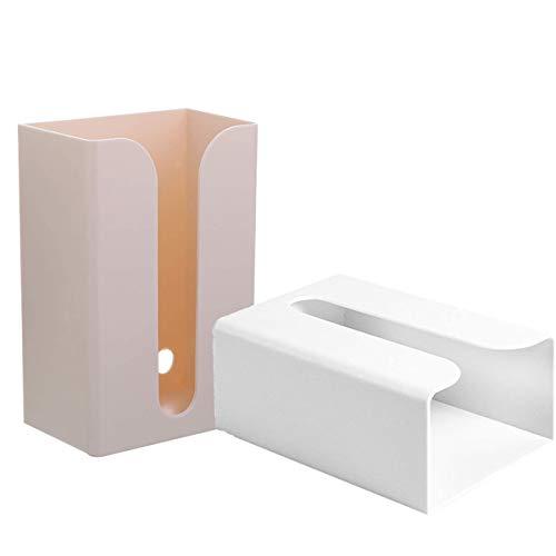 Binjor 2Pcs Caja de papel sanitaria para instalación mural sin perforar autoadhesiva semiabierta con ranura en plástico Servilletero apilado Dispensador de bolsas de basura Para baño y cocina