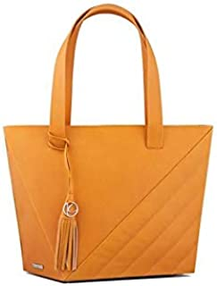 Kaizer KB2100MUST Leather Shopper Bag for Women - Mustard