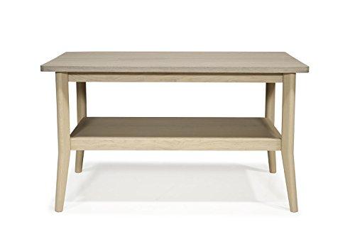 maCazba Table Basse Fifties Vernis Naturel & Taupe - Chêne Massif -88x50 H 50cm