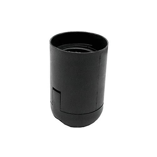 Fassung E27 schwarz Thermoplast mit Glattmantel und Aufsteckkappe Feingewinde M10x1 Kunststoff-Fassung